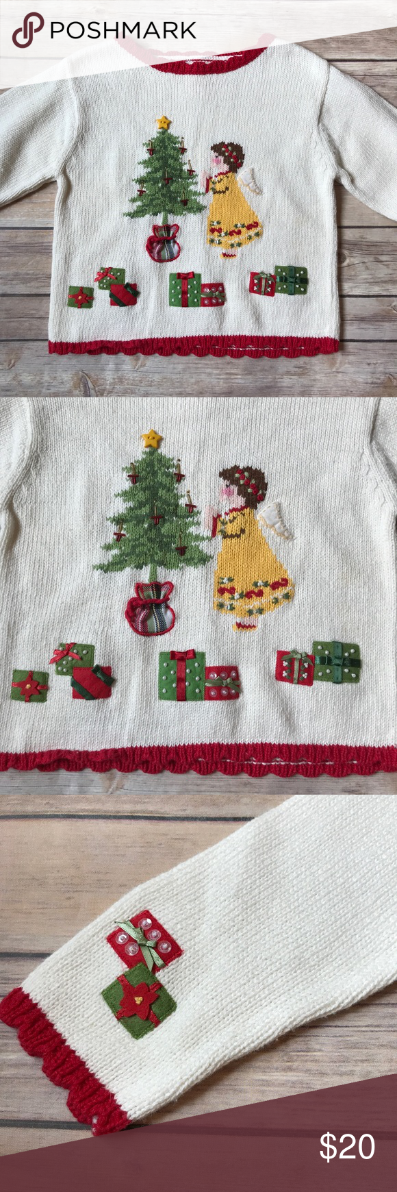 NWT Hartstrings Christmas Sweater Size 4, Hartstrings Christmas sweater. Brand new with tags still attached. Christmas tree, angel and presents with sweet details. Red scalloped trim. Soft and comfy. No flaws. Hartstrings Shirts & Tops Sweaters