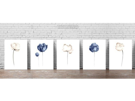 Best Flowers Blue White Living Room Decor Navy Peony Taupe 400 x 300