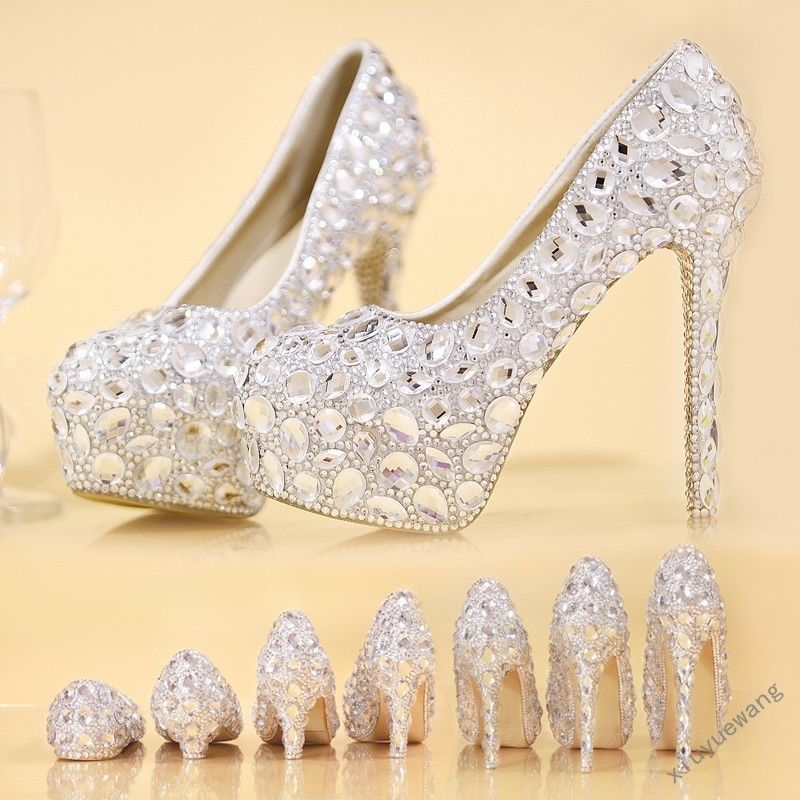 Elegant Womens High Heel Platform Rhinestone Bridal Wedding Shoes Crystal  Pumps eb59e3396d67