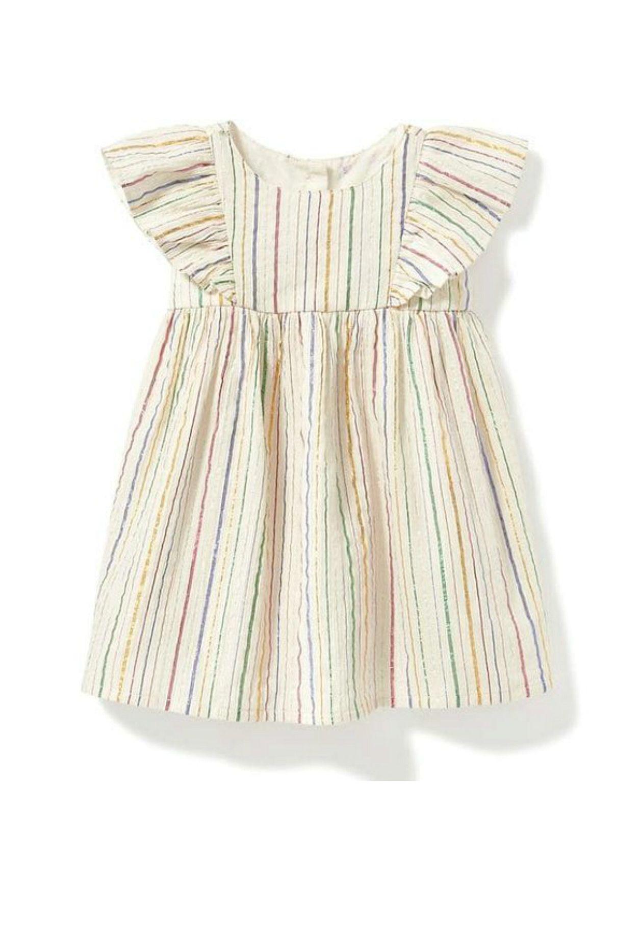 Metallic Stripe Flutter Sleeve Baby Dress Old Navy