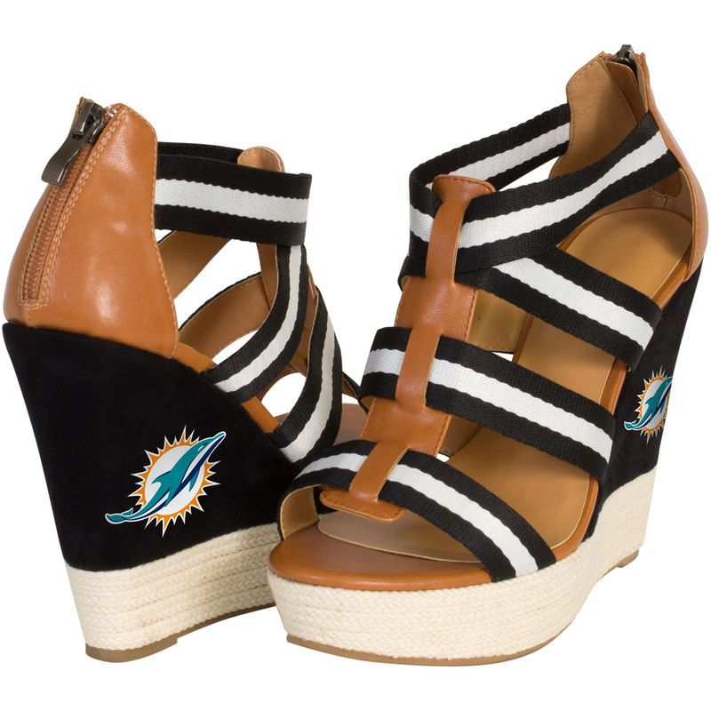 Cuce Shoes Miami Dolphins Women's Rookie 2 Sandals - Black/Brown