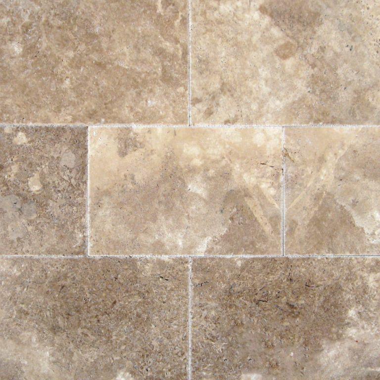 English Walnut 16 X 24 Unfilled Brushed Chiseled Travertine Tile