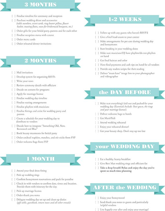 Essential Wedding Planning Checklist  Diver