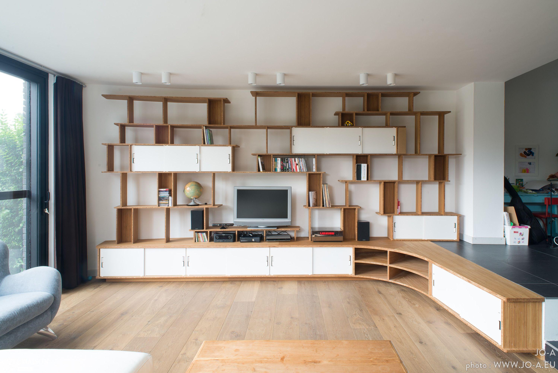 Meuble Tv Bibliothèque Blanc grande bibliothèque - meuble tv en bois avec rangements