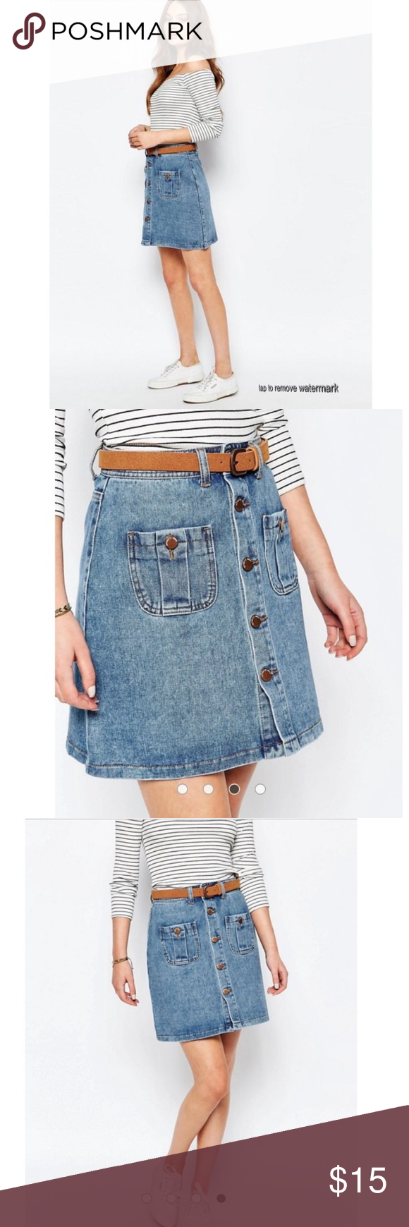 b93df38b19 •ASOS• New Look Mini Button Down Denim Skirt Vintage style button front  with pocket. Absolutely darling! UK Size 14. EU Size 42. Approximately a  Size 10 in ...