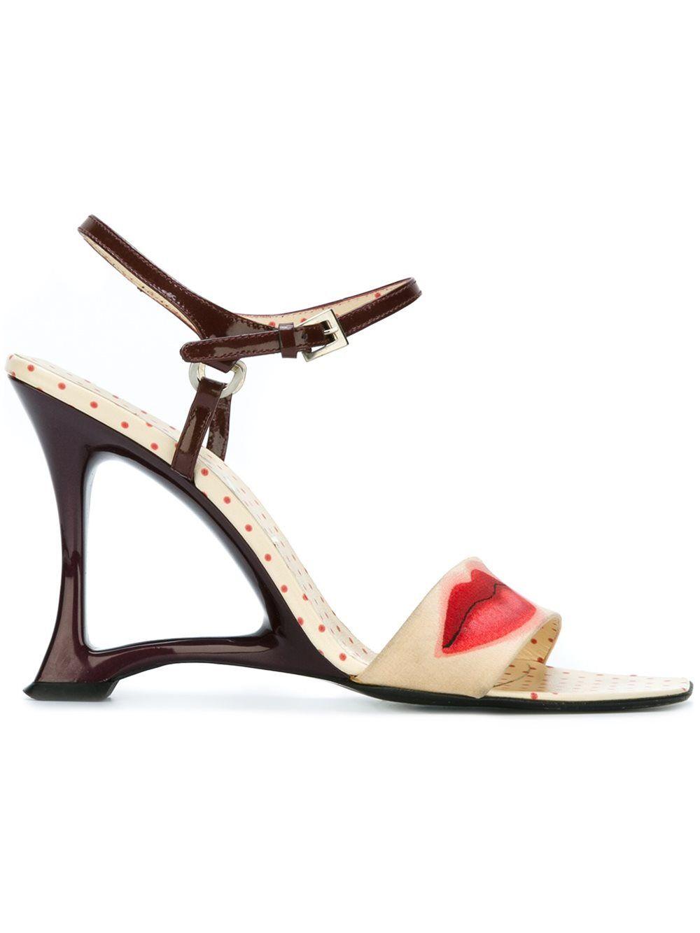 Prada Lip print wedge sandals z7f7j