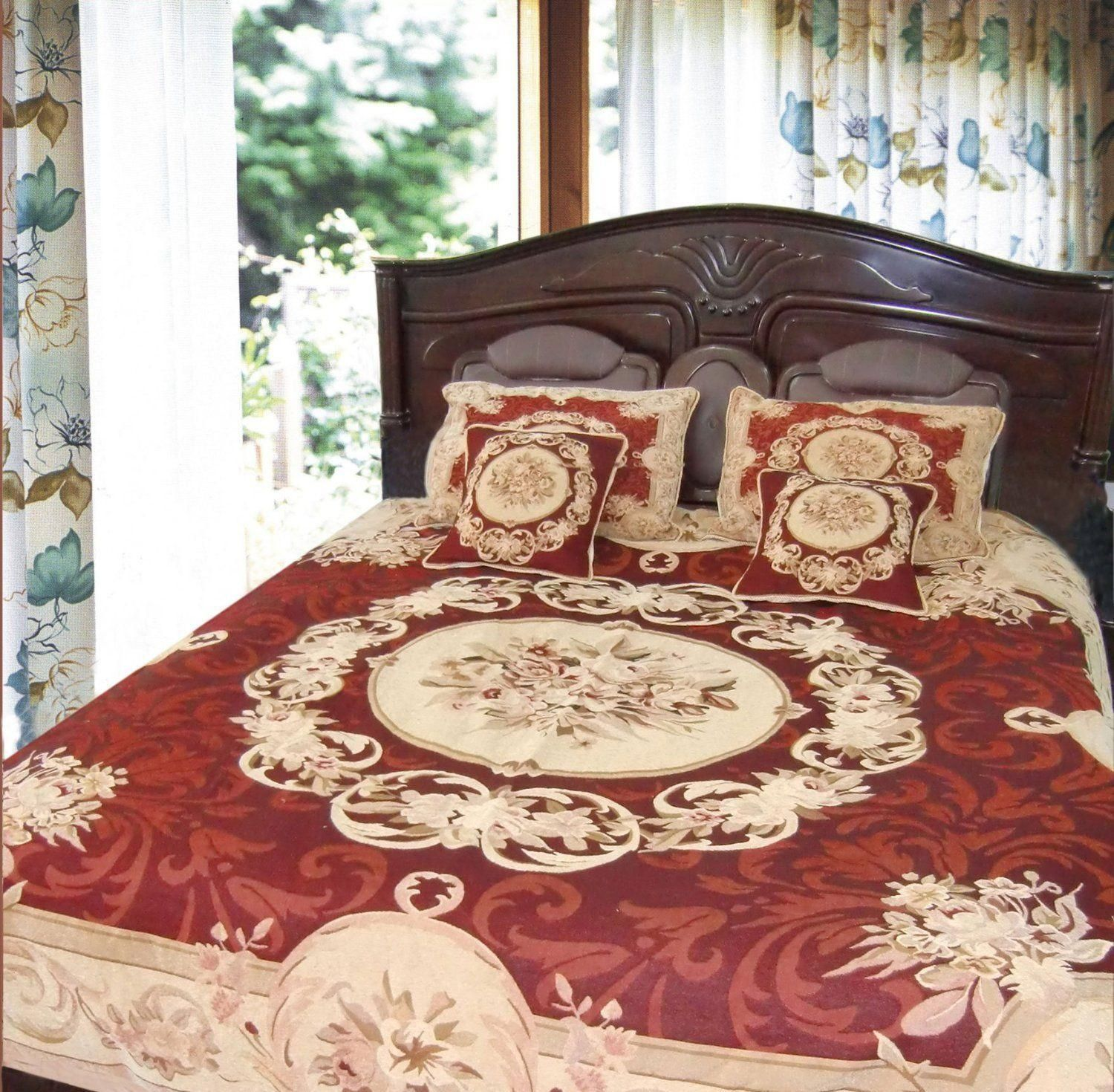 DaDa Bedding Elegant Chenille Woven Tapestry Floral Medallion Print Bedspread Red Creme Queen - Twin - 3-5 Pieces (12JPG)