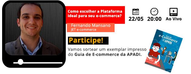 Convidado: Fernando Mansano (JetCommerce). Tema: Como Escolher Plataforma Para Seu Negócio. Com Denis Zanini e Elvis Gomes. Clique e assista