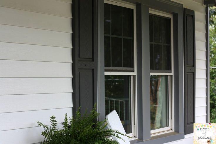 Gray Trim With Black Shutters House Colors Pinterest Window Trim Exterior House Exterior Windows Exterior