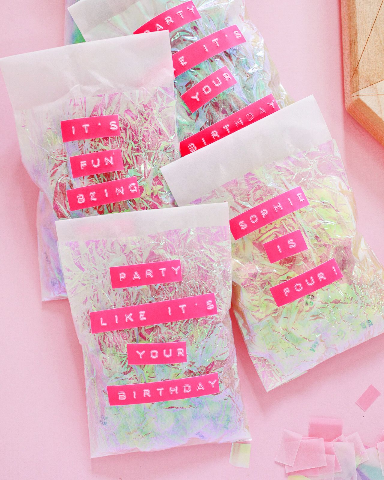 a2ace7db3a596 DIY Iridescent Favor Bags | Spreading the love | Adult party bags ...