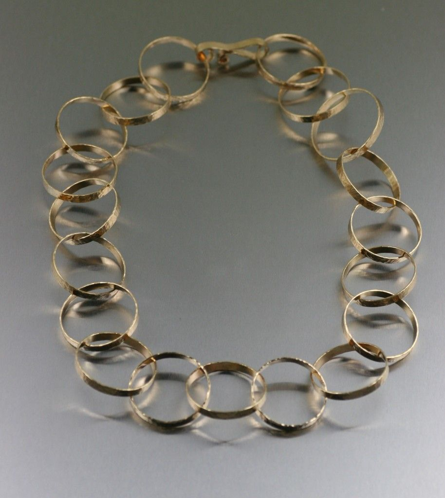 Hammered Nu Gold Chain Link Necklace Gold Designer Jewelry