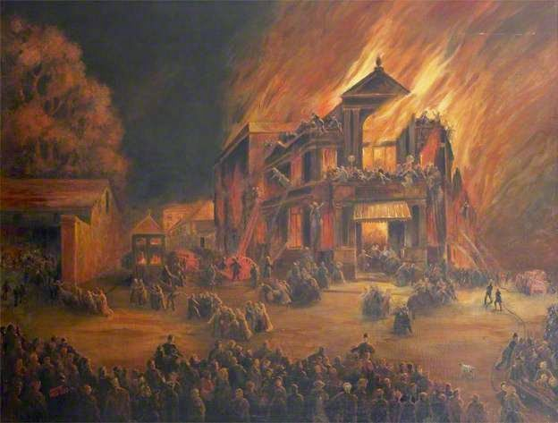 On Sept. a fire at Exteru0027s Theatre Royal killed 168 people. Gas lighting ignited some gauze backstage on the opening night of a romantic comedy called ... & On Sept. 5 1887 a fire at Exteru0027s Theatre Royal killed 168 people ...