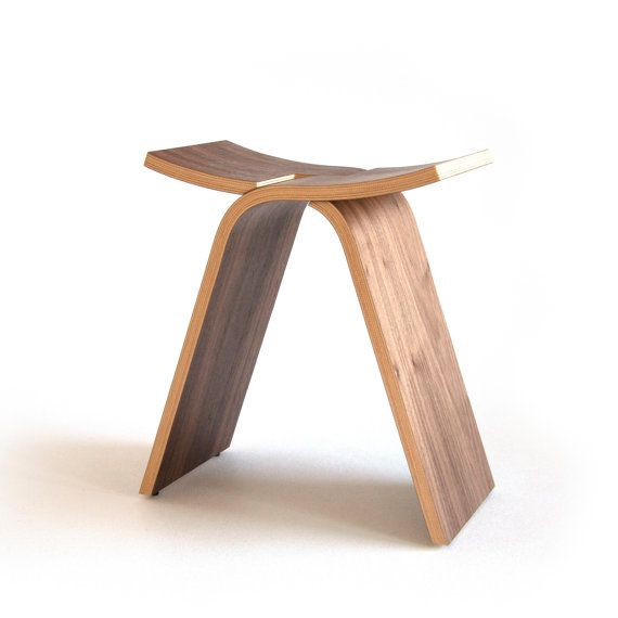 Small Foyer Stool : Wooden stool bent plywood wood entryway
