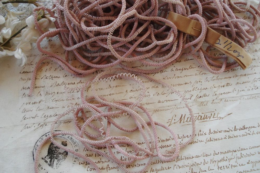 Antique vintage french pink bullion metal wire thread coil