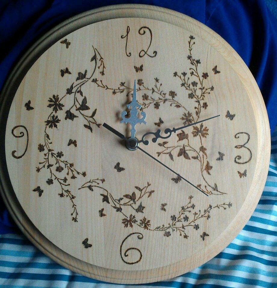 Pyrography clock I made Pyrography clock I
