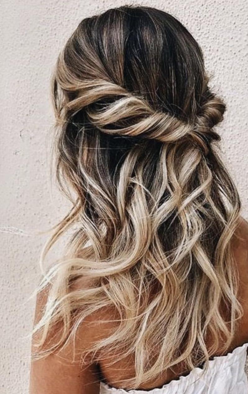 blonde balayage twist back hair ideas | half pony hair updo