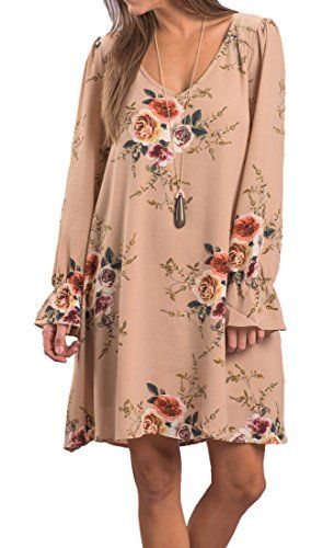 Women s Boho Floral Print Chiffon Cocktail Dress Long Sleeve V-neck Casual  Loose Fit 49e158942