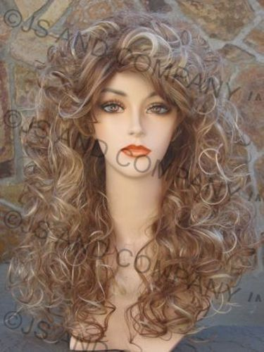 Sexy AMAZING CURLY Blonde mix Big Full hair WIG TRCA #FullWig