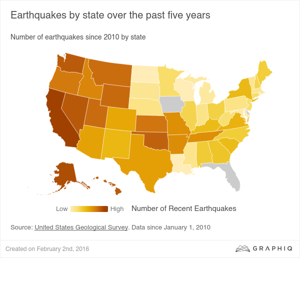 Earthquakes by state over the past five years data visualization data visualisation gumiabroncs Image collections