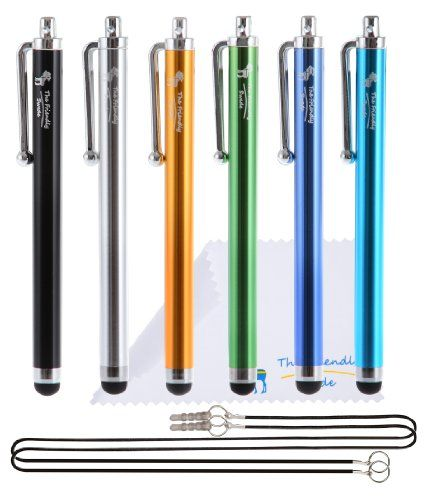 """The Friendly Swede Basics - Bundle of 6 Capacitive Stylus Pens (Rubber Tip, Universal Compatibility) + Two 15"""" Lanyards + Microfiber cloth (Black, Gold, Silver, Blue, Sea Blue, Green) The Friendly Swede http://www.amazon.com/dp/B00752ZKU6/ref=cm_sw_r_pi_dp_dH5lwb1CZQCY5"""