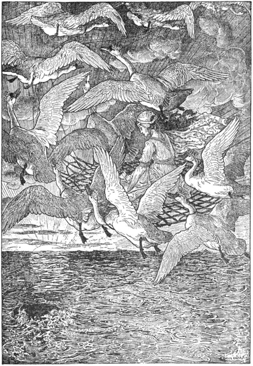 Wild Swans - Louis Rhead Fairytale Illustration