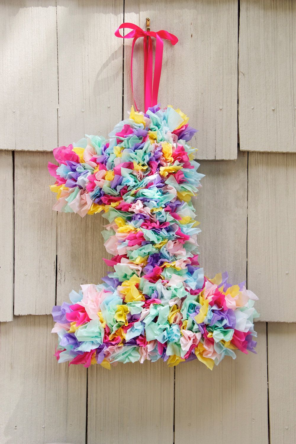 Tissue Paper Number Wreath Birthday Decoration Custom Order
