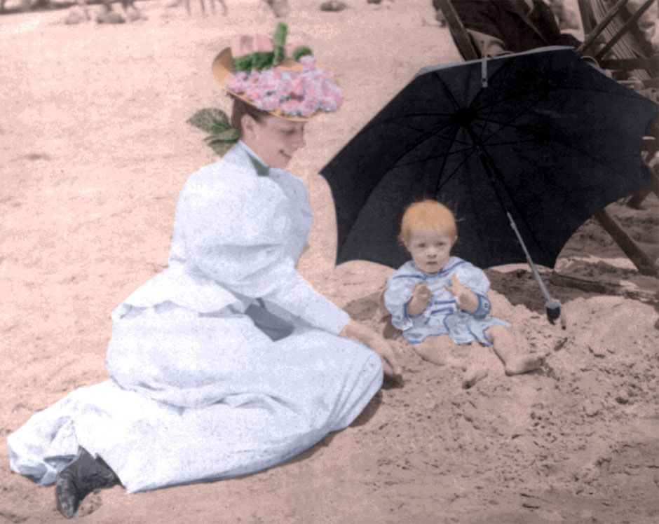 Heat Wave! Pictures of Victorians at the Beach #largeumbrella