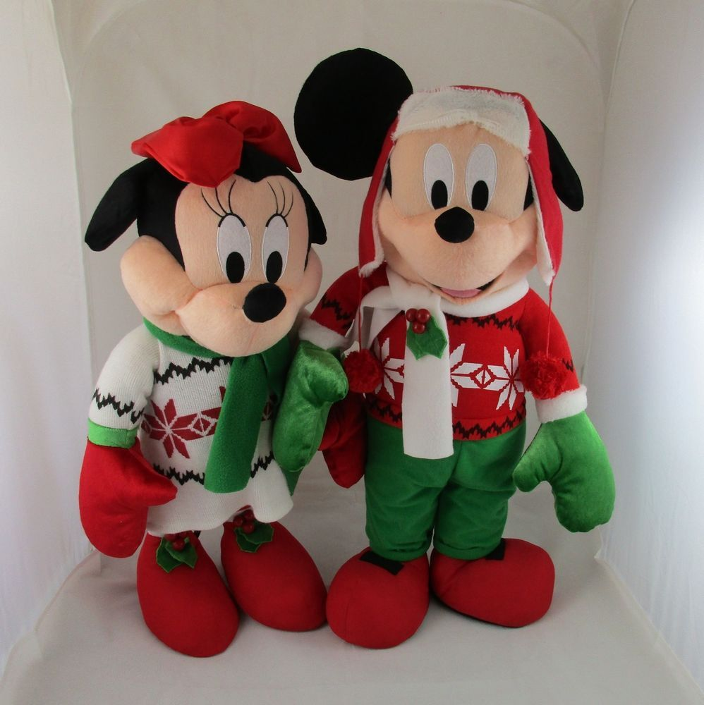 Christmas Minnie Mouse Plush.Disney Mickey Minnie Mouse Christmas Holiday Door Greeter