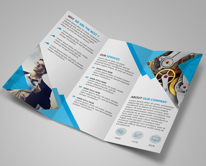 Free Modern Blue Trifold Brochure Template PSD Tri Fold - Brochure photoshop template
