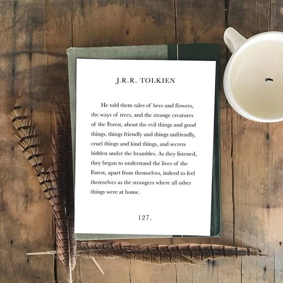J R R Tolkien Tales of Bees and Flowers Book Quote 8×10 Art