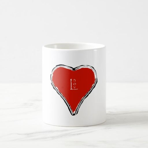 Elegant Red Heart And Love Symbol With Compass Coffee Mug Compass