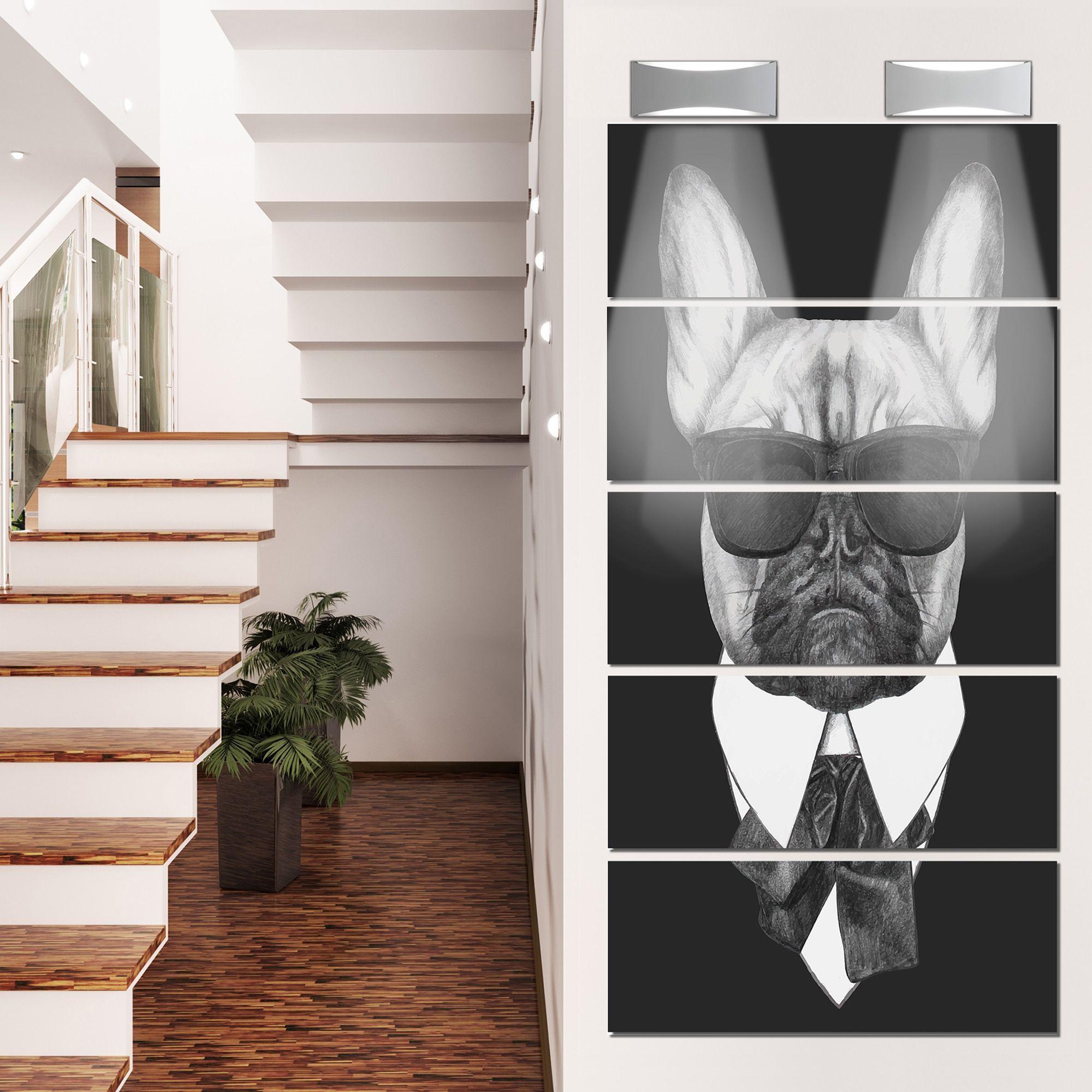 Designart ufrench bulldog fashion portraitu large animal metal grey