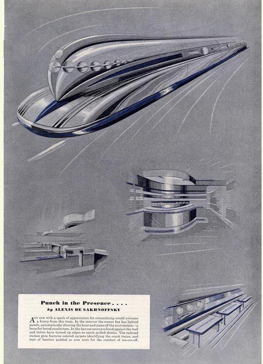1937 - Alexis De Sakhnoffsky Streamlining Trains