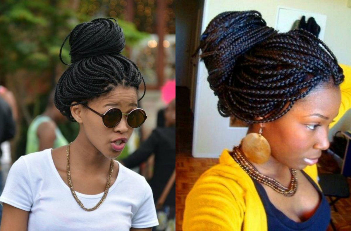 Black Women Loose Buns Hair Styles Bun Hairstyles Box Braids Bun