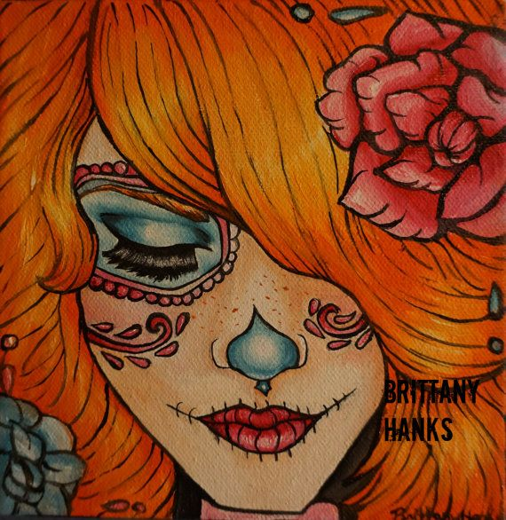 Day of the Dead Dia de los muertos Rockabilly Pin Up girl redhead Lowbrow Tattoo art print 8 by 8  sugar skulls