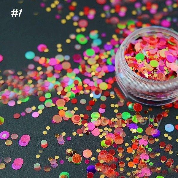 1 Box Ultradünne Nagel Glitter Pailletten Candy Farbe Star Herz Glitter Nail art Dekoration #21073