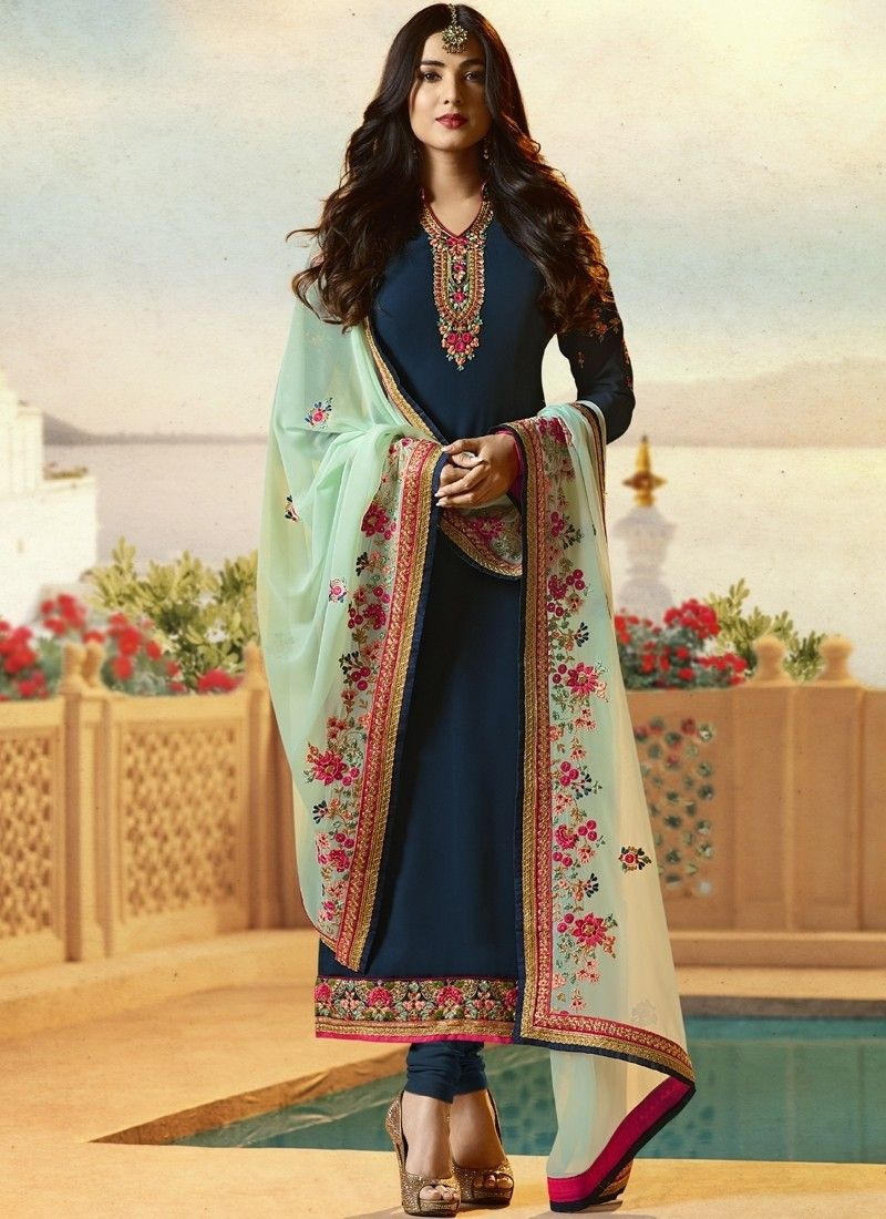 0ff7a28d7fa Blue embroidered party wear Punjabi salwar kamiz in 2019