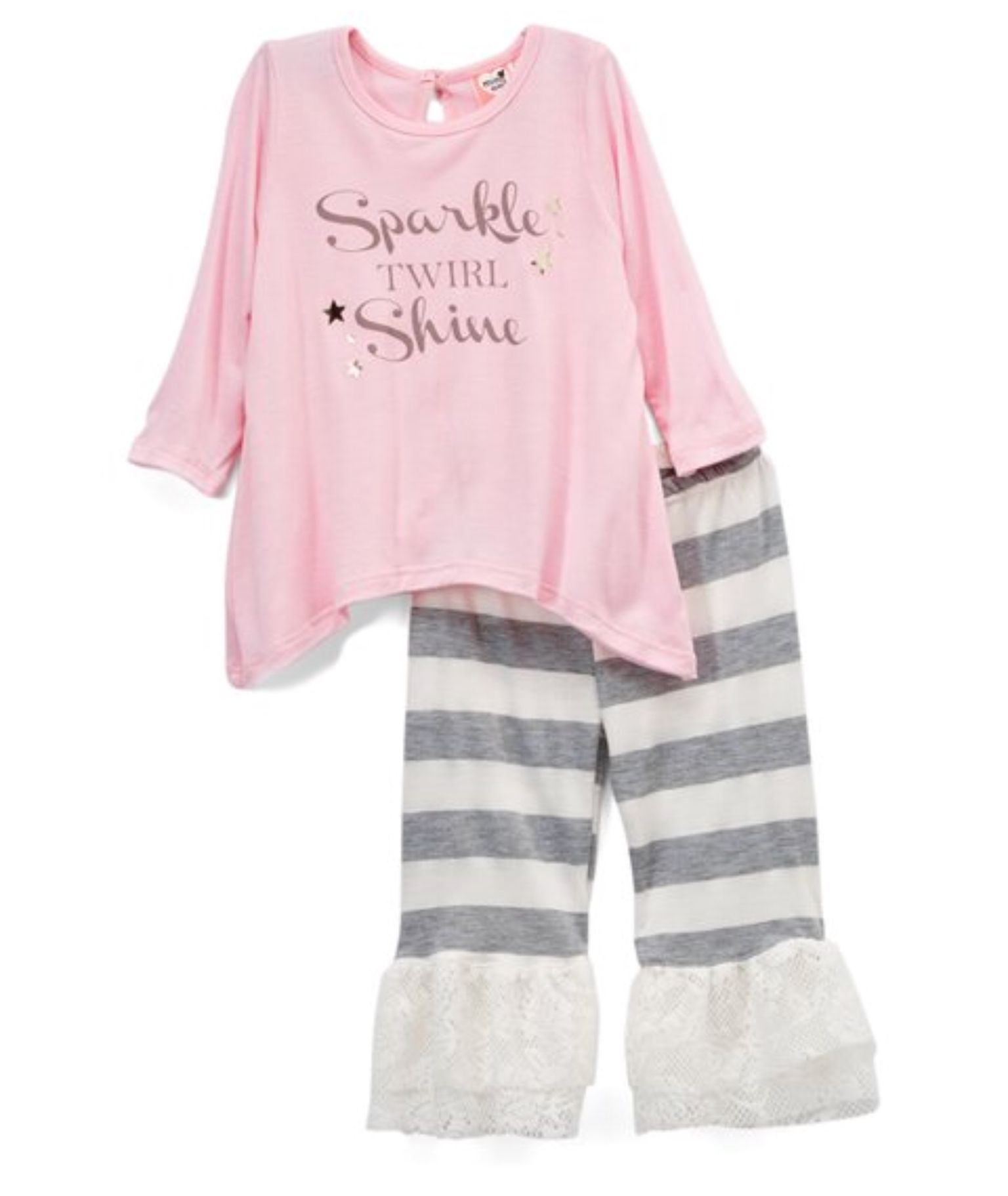 mini mini Pink Sparkle Heart of Gold Top & Leggings Infant