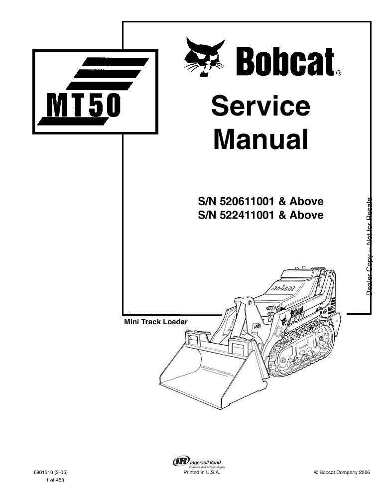 Bobcat MT50 Mini Track Loader Service manual PDF Download