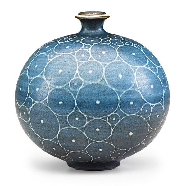 "HARRISON McINTOSH (b.1914)Glazed stoneware spherical vase with circle pattern, Claremont, CA; HM chopmark, paper label; 6 1/2"" x 6 1/2"""