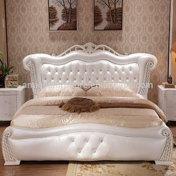 Modern Cheap Price White Leather Bed Wood Double Bed Designs