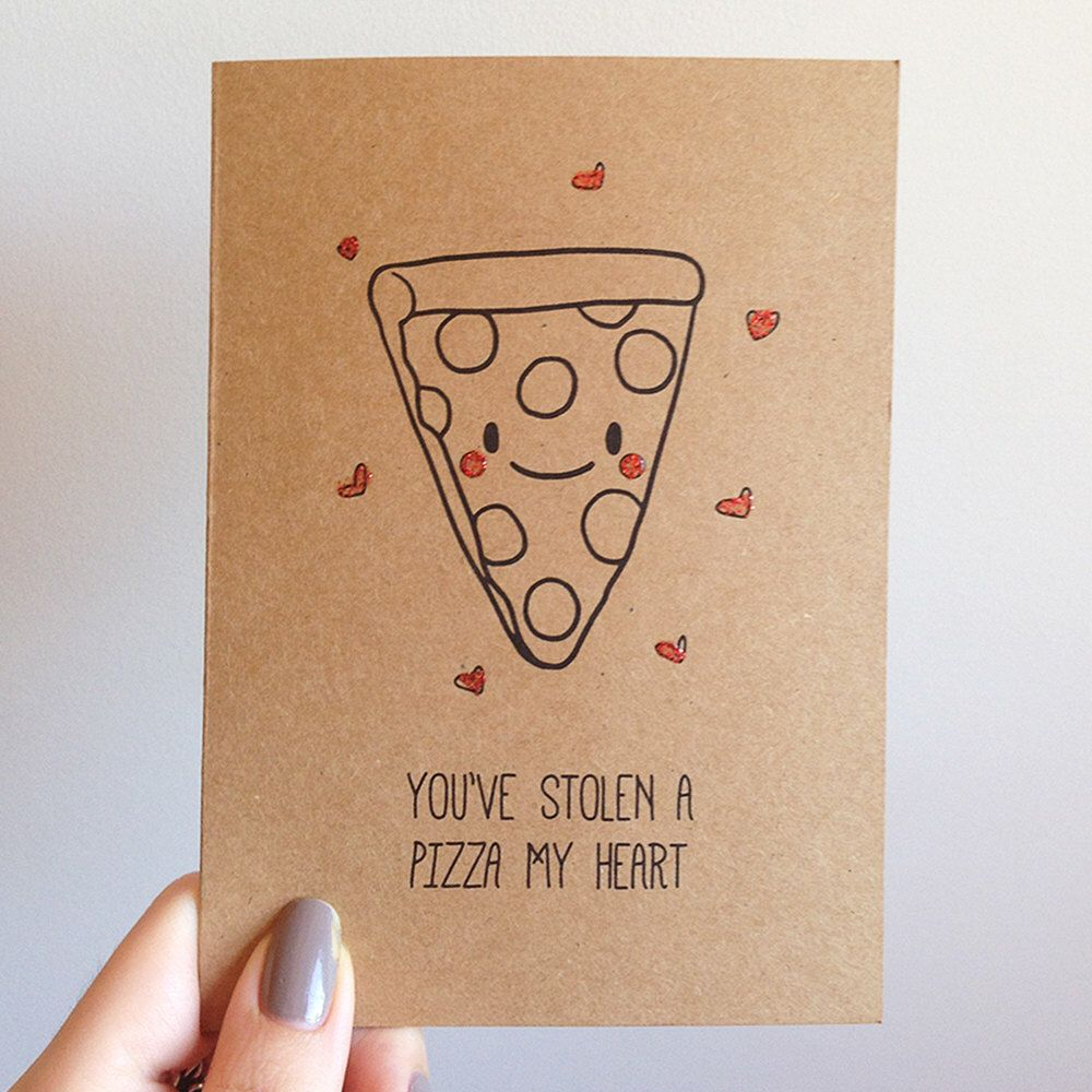 funny pizza pun card  quirky cute love italian takeout
