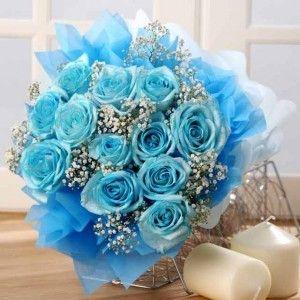 Light Blue Blue Rose Bouquet