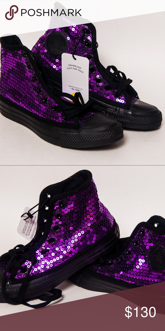 fd6f05b0713b Purple Sequin on Black Monochrome Converse Hi Top • Never been worn • True  to size • You won t find this color in stores Hand sequined by Princess  Pumps ...