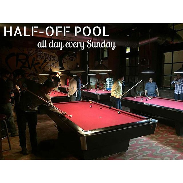 Hey #CambridgeMA! Whether you're just waking up or heading off to #brunch stop in for half-priced tables all day. And if your competitive spirit is acting up stick around for the 3pm #pool tournament.   #billiards #poolhall #kendallsquare #flattopjohnnys #sundayfunday #craftbeer #beer #wings #burgers #cambma #boston by flattopjohnnys August 30 2015 at 11:41AM