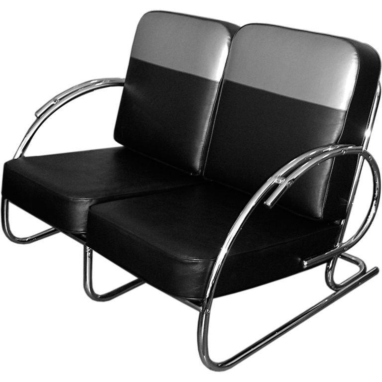 Perfect Streamline Moderne Art Deco Tubular Chrome Loveseat Or Settee At 1stdibs