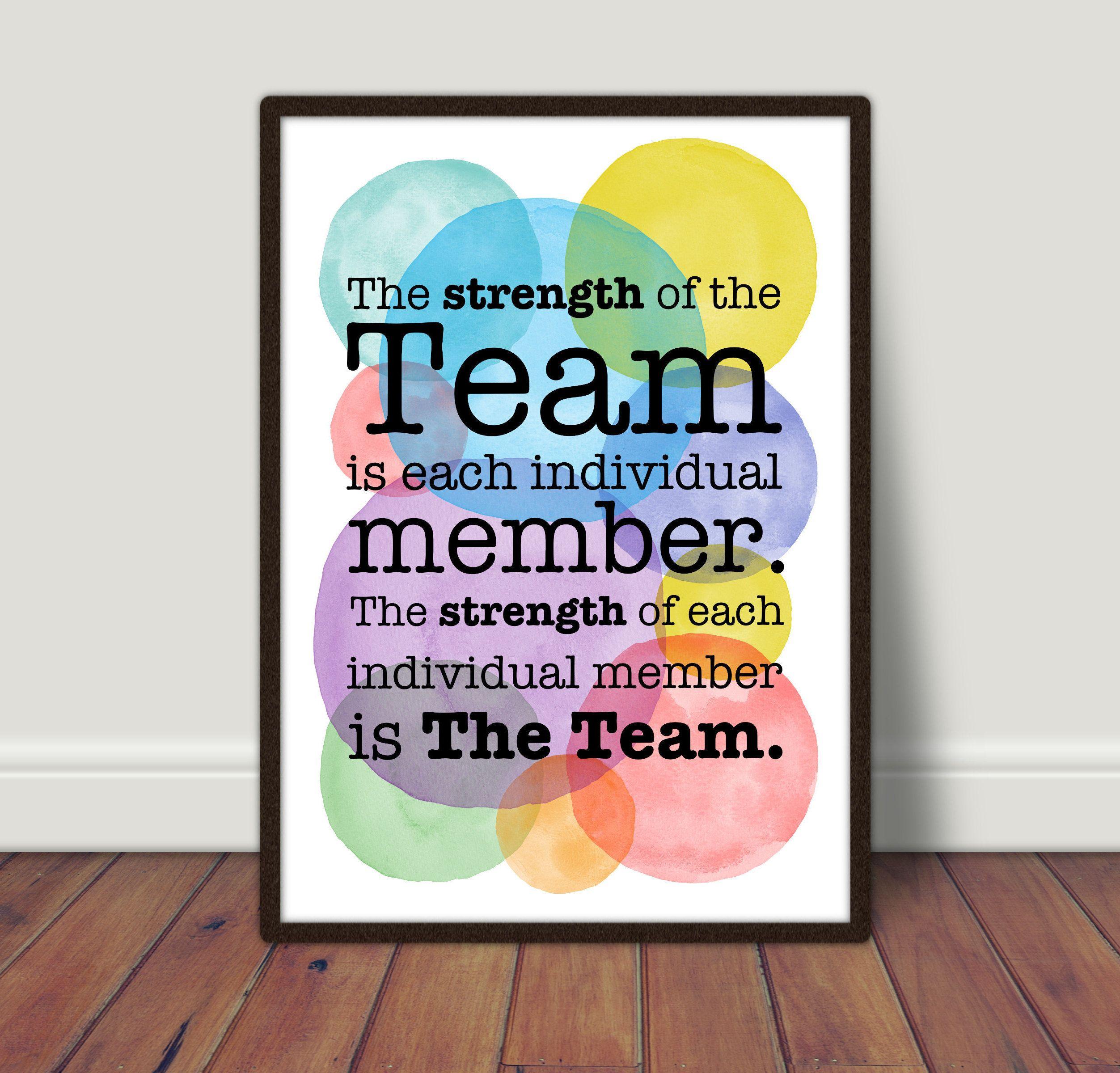 Teamwork Print Inspiring Quotes Staff Room