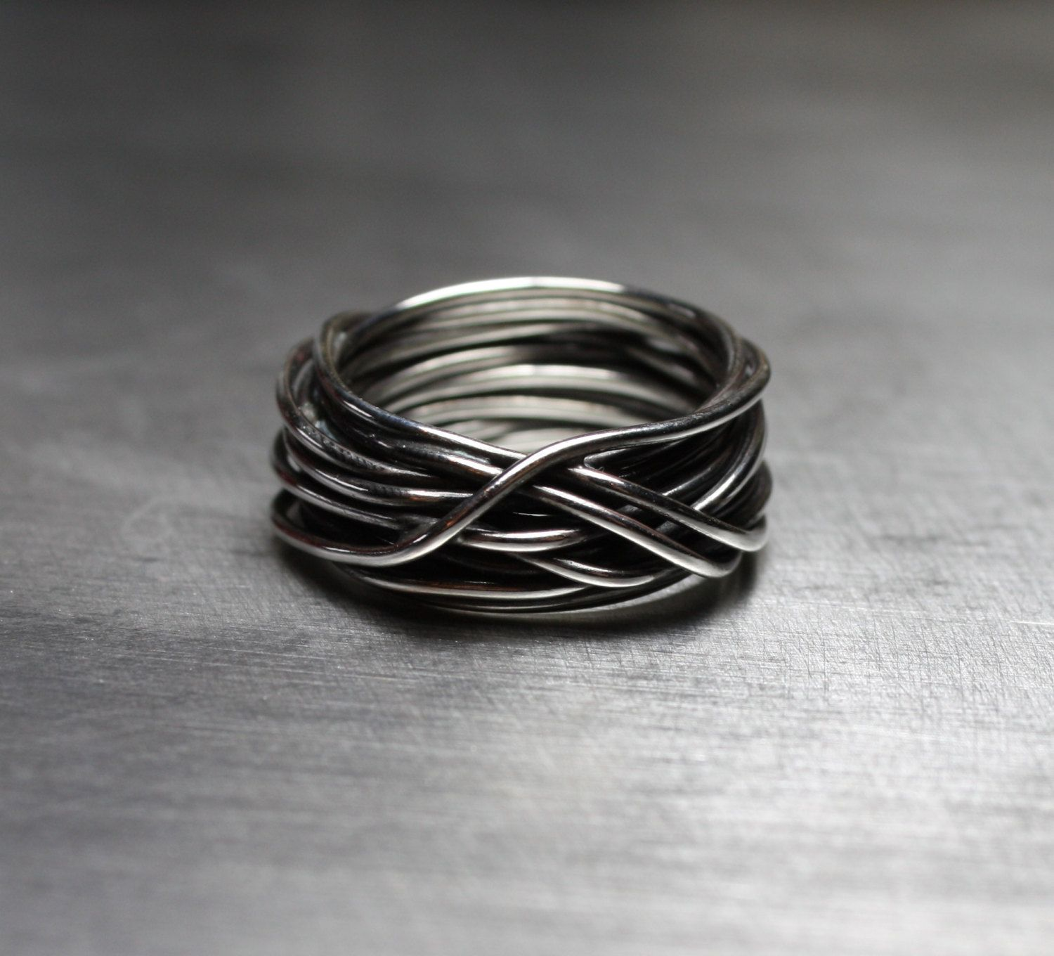 Mens Ring, Wedding Band, Wire Wrapped Ring, Rustic Jewelry, Sterling ...