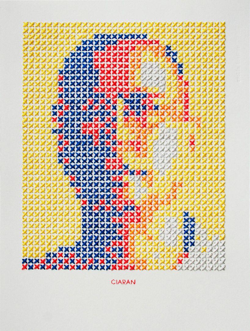 hand-stitched portrait by Evelin Kasikov 210mm x 280mm http://evelinkasikov.com/  #stitching #textile_art