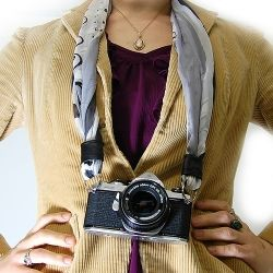 Step-by-step tutorial on how to make a camera strap with a silk scarf.